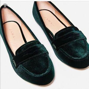 Zara Velvet green loafers size 6 NEW